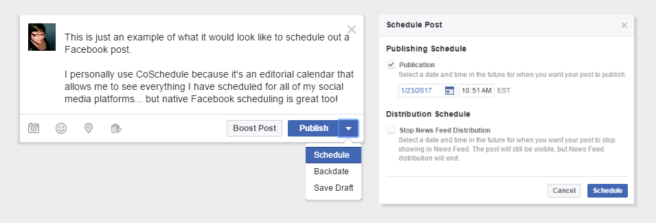 Native Facebook post scheduling
