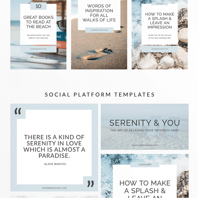 Serenity 10 Piece Social Media Template Kit